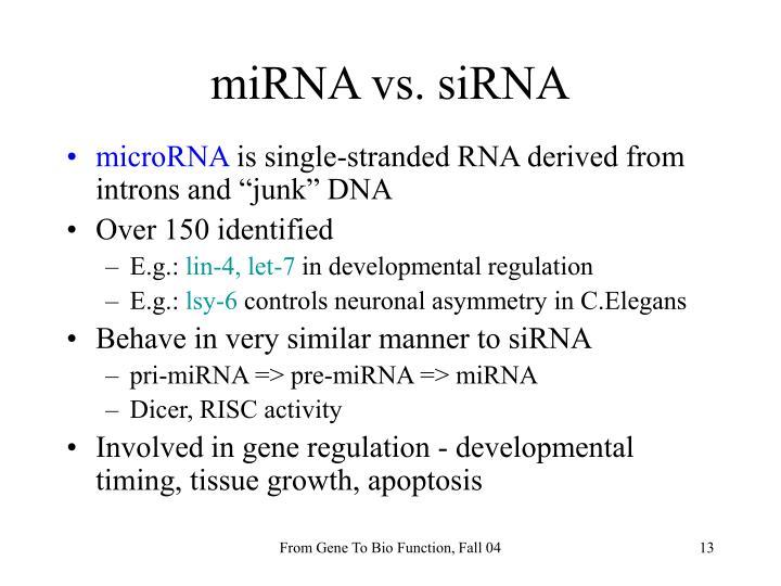 miRNA vs. siRNA