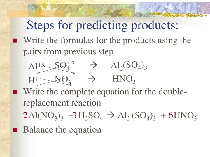 Steps for predicting products: