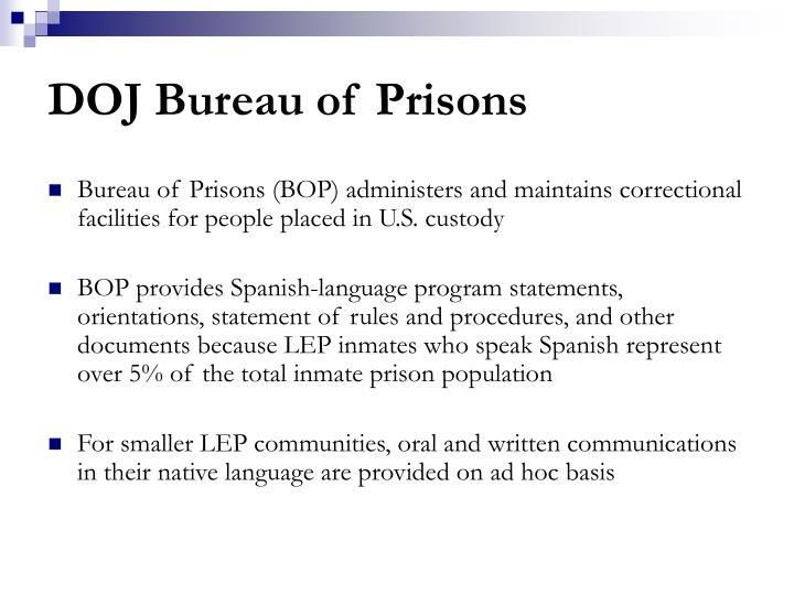 DOJ Bureau of Prisons