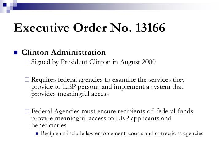Executive Order No. 13166