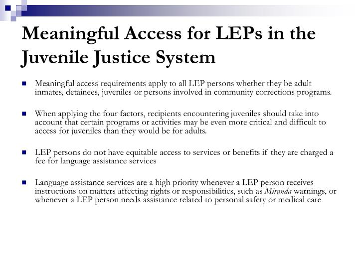 Meaningful Access for LEPs in the Juvenile Justice System