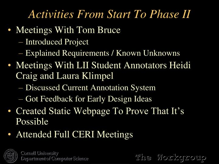 Activities From Start To Phase II