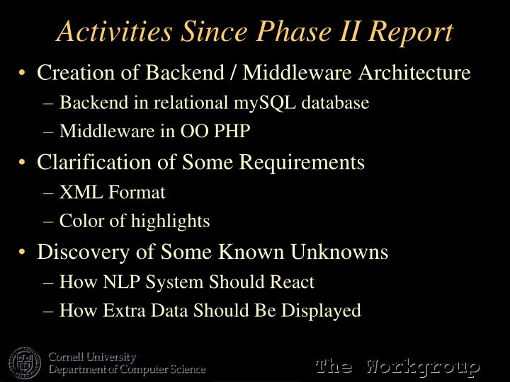 Activities Since Phase II Report