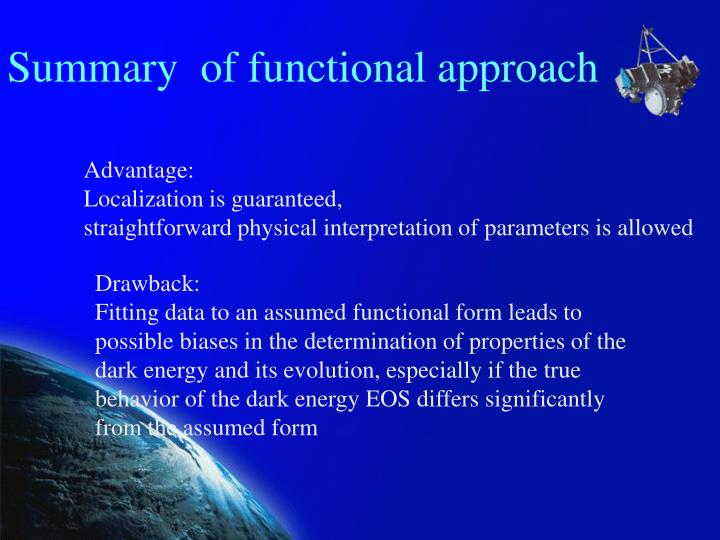 Summary  of functional approach