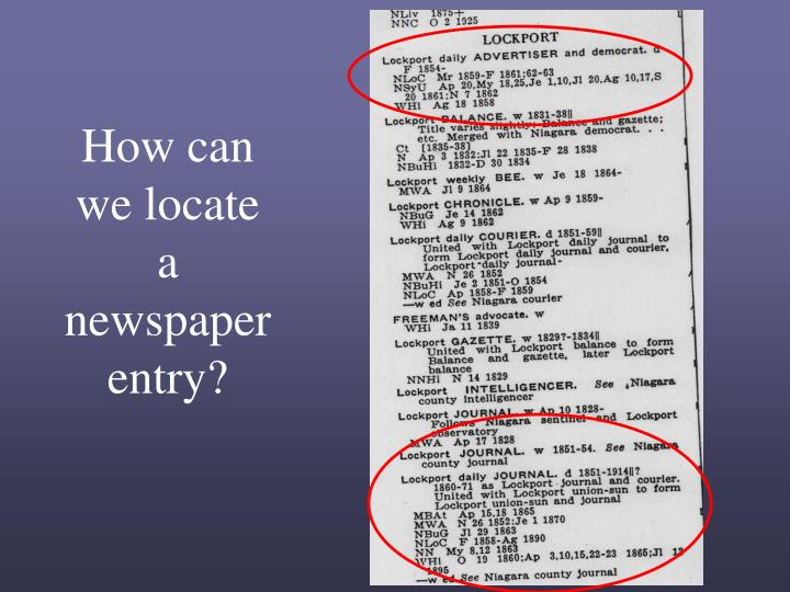 How can we locate a newspaper entry?