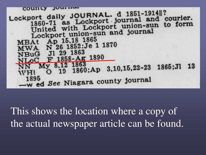 This shows the location where a copy of the actual newspaper article can be found.