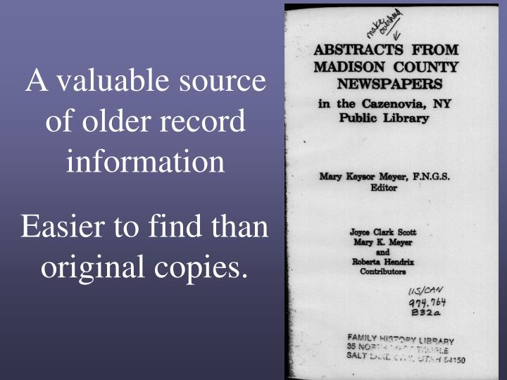 A valuable source of older record information
