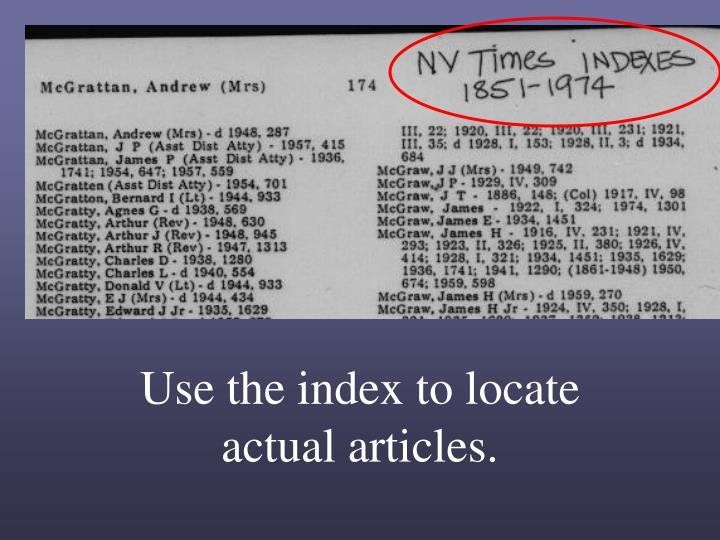Use the index to locate