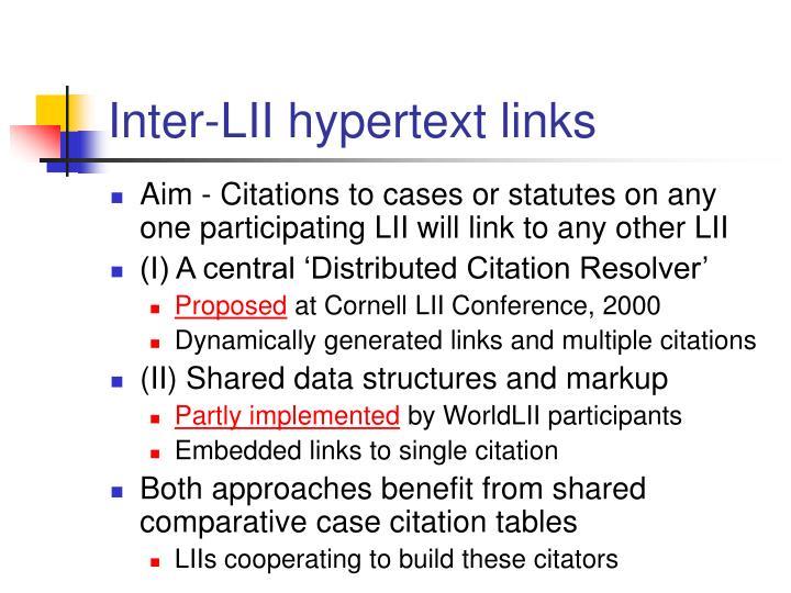 Inter-LII hypertext links