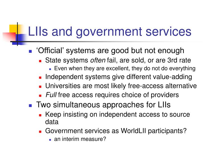 LIIs and government services