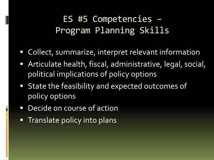 ES #5 Competencies –