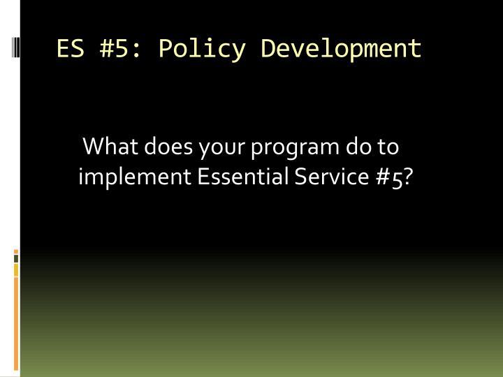 ES #5: Policy Development