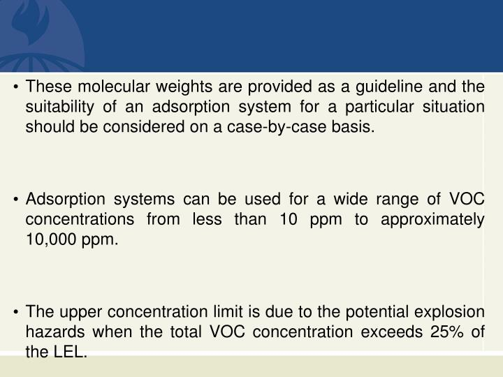 These molecular weights are provided as a guideline and the suitability of an adsorption system for a particular situation should be considered on a case-by-case basis.