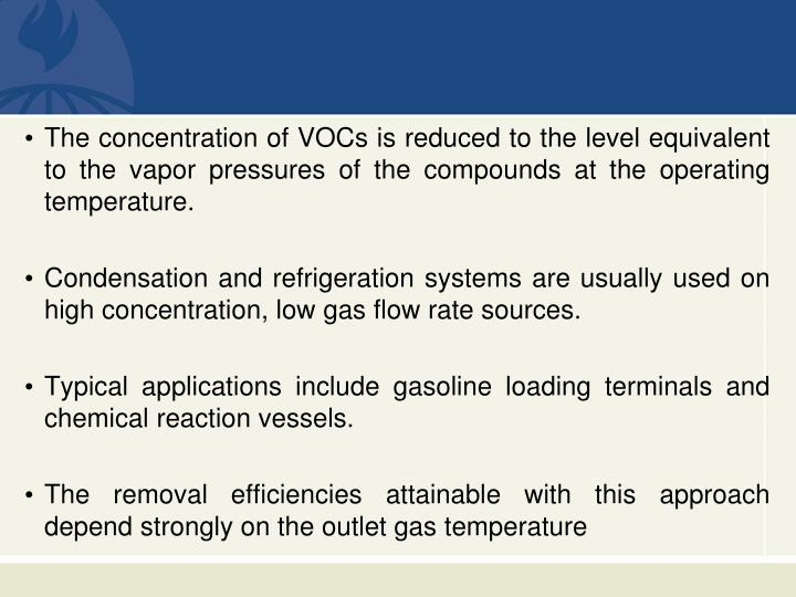 The concentration of VOCs is reduced to the level equivalent to the vapor pressures of the compounds at the operating temperature.