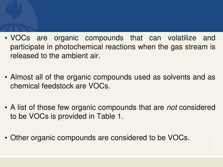 VOCs are organic compounds that can volatilize and participate in photochemical reactions when the...