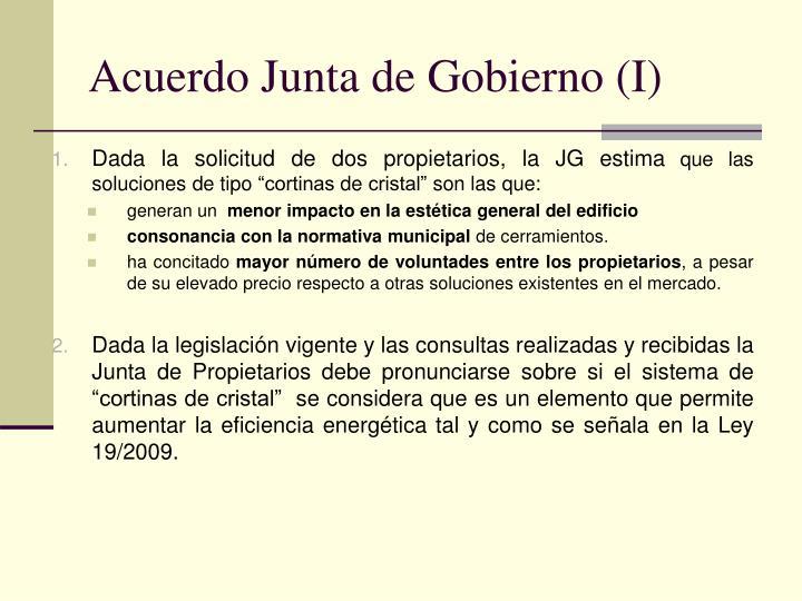 Acuerdo Junta de Gobierno (I)