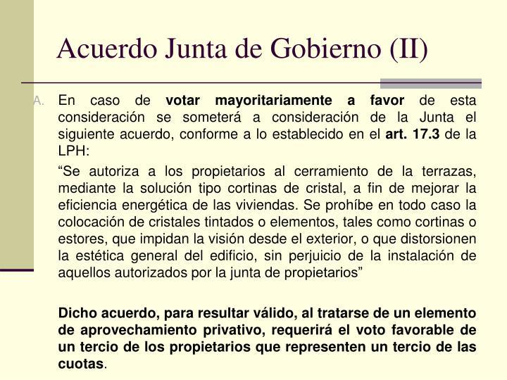 Acuerdo Junta de Gobierno (II)