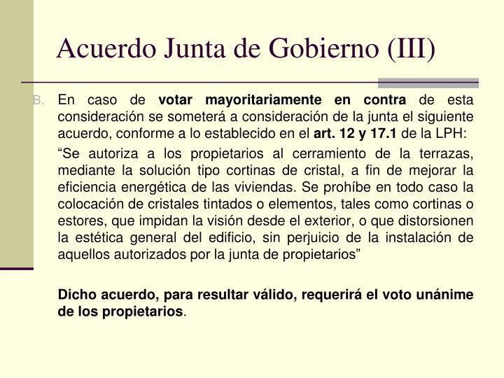 Acuerdo Junta de Gobierno (III)