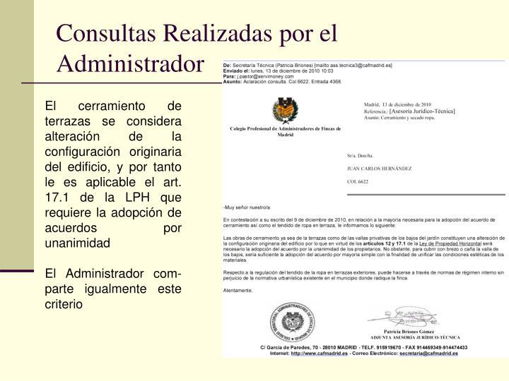 Consultas Realizadas por el Administrador
