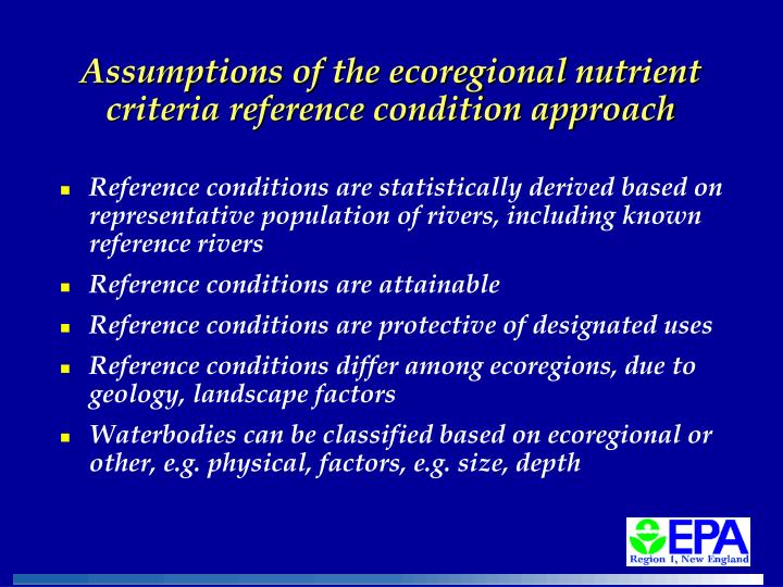 Assumptions of the ecoregional nutrient criteria reference condition approach