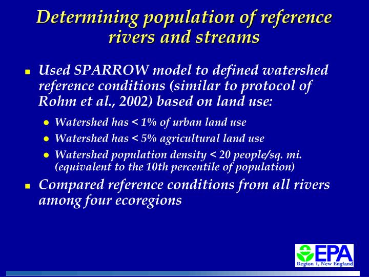 Determining population of reference rivers and streams