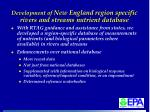development of new england region specific rivers and streams nutrient database