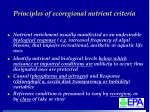 principles of ecoregional nutrient criteria