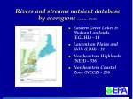 rivers and streams nutrient database by ecoregions source ensr