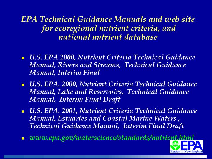 EPA Technical Guidance Manuals and web site