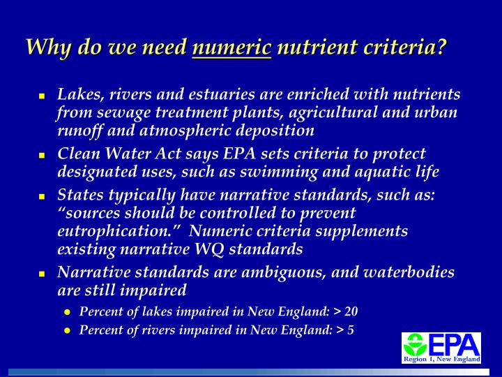 Why do we need numeric nutrient criteria