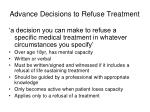advance decisions to refuse treatment