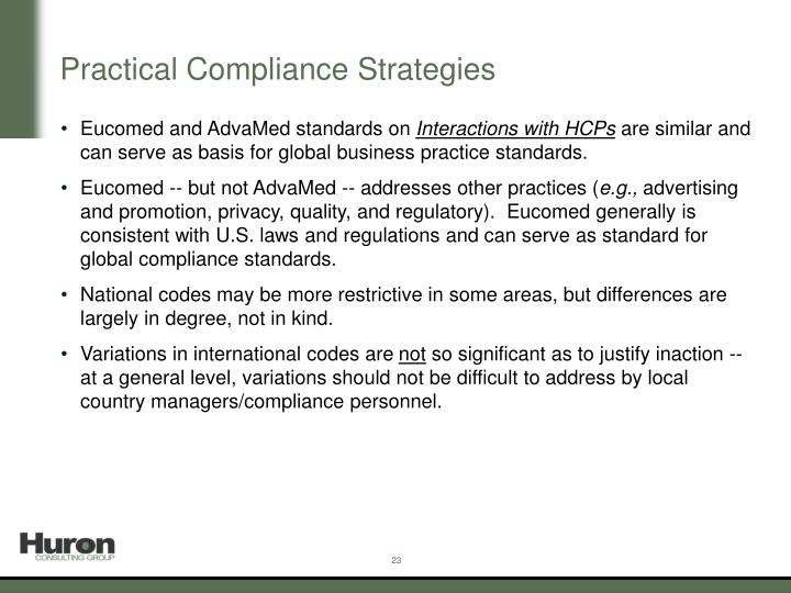 Practical Compliance Strategies