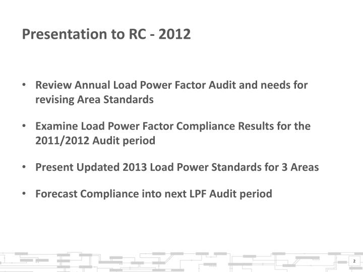 Presentation to RC - 2012