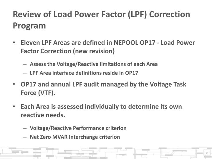 Review of Load Power Factor (LPF) Correction Program