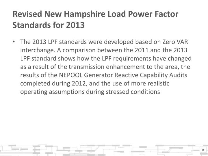 Revised New Hampshire Load Power Factor Standards for 2013