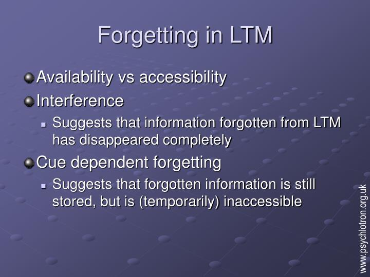 Forgetting in ltm