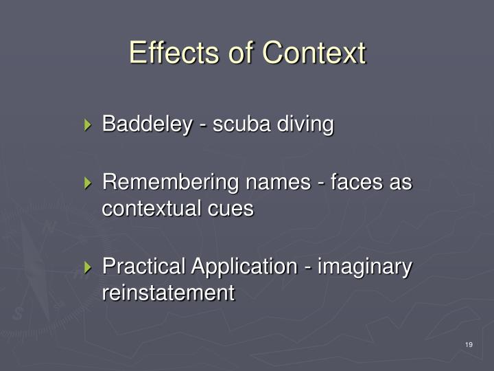 Effects of Context