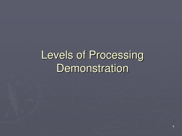 Levels of Processing Demonstration