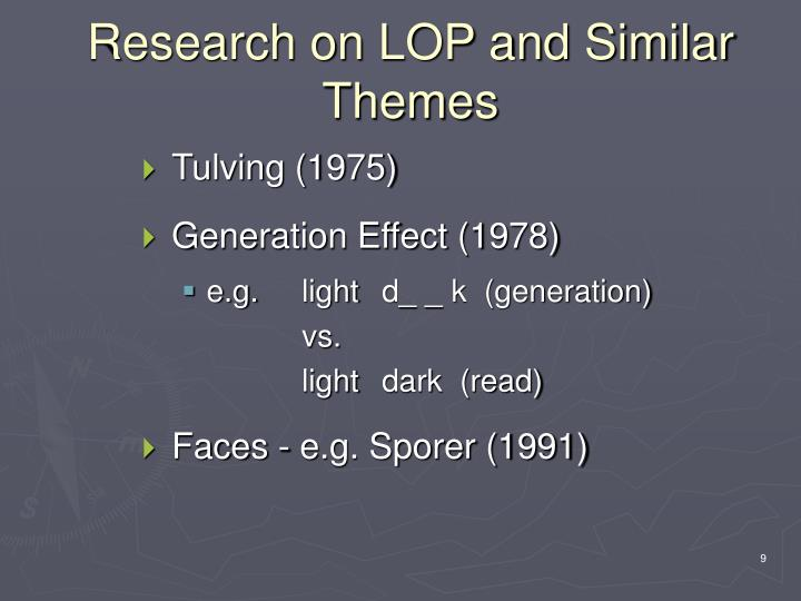 Research on LOP and Similar Themes
