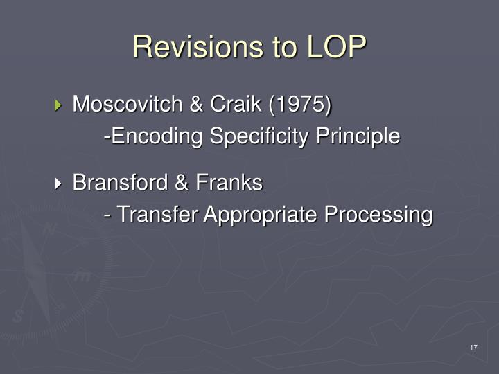 Revisions to LOP