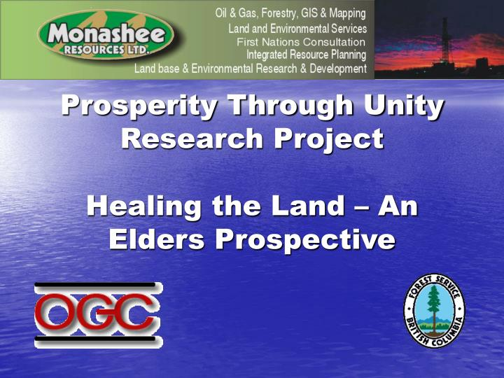 Prosperity Through Unity Research Project