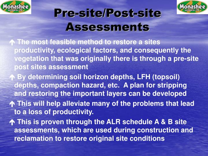 Pre-site/Post-site Assessments