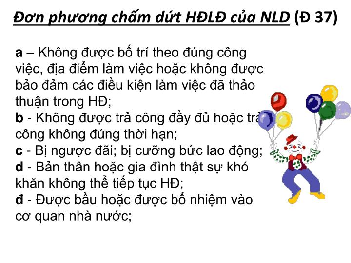 Đơn phương chấm dứt HĐLĐ của NLD