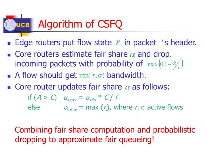 Algorithm of CSFQ