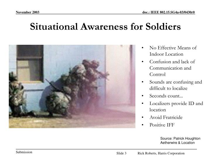 Situational awareness for soldiers
