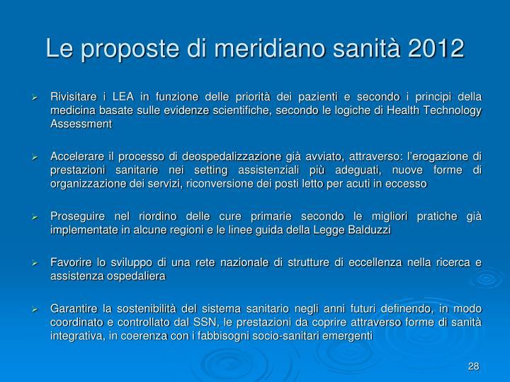 Le proposte di meridiano sanità 2012