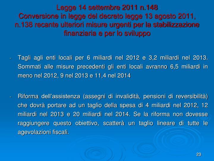 Legge 14 settembre 2011 n.148