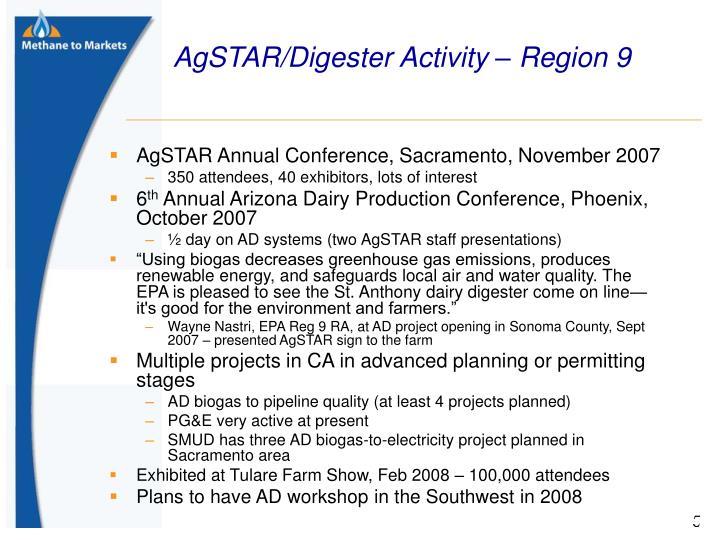 AgSTAR/Digester Activity – Region 9