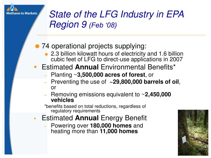 State of the LFG Industry in EPA Region 9