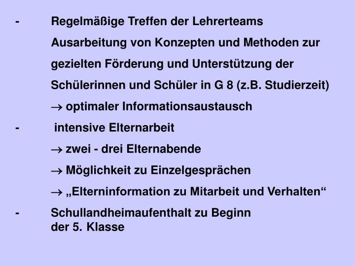 -Regelmäßige Treffen der Lehrerteams